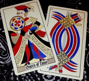 Eros Tarot by Uusi Queen of Coins and 9 of Swords