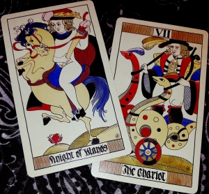 Eros Tarot by Uusi Knight of Wands and The Chariot