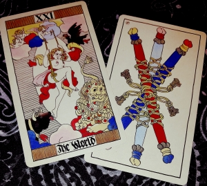 Eros Tarot by Uusi The World and 3 of Wands