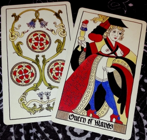 Eros Tarot by Uusi 3 of Coins and Queen of Wands