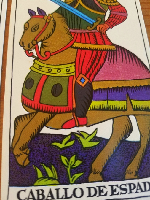 Knight of Swords, The Spanish Tarot published by Heraclio Fournier, Spain.