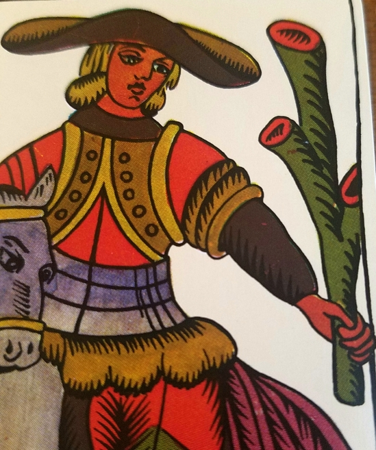 Knight of Batons, The Spanish Tarot published by Heraclio Fournier, Spain.