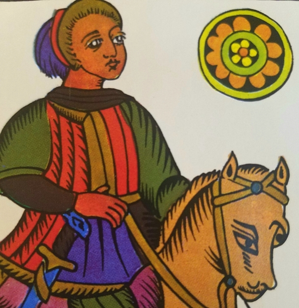Knight of Coins, The Spanish Tarot published by Heraclio Fournier, Spain.